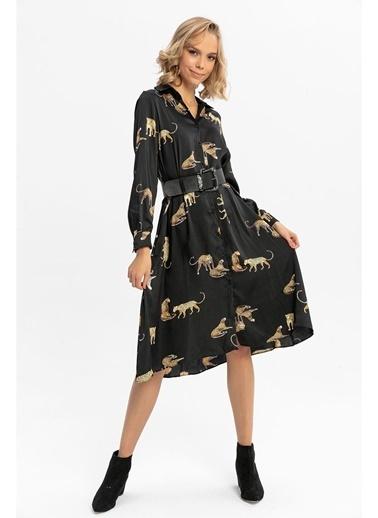 Tiffany&Tomato Leopar Desenli Midi Gömlek Elbise-Siyah Siyah